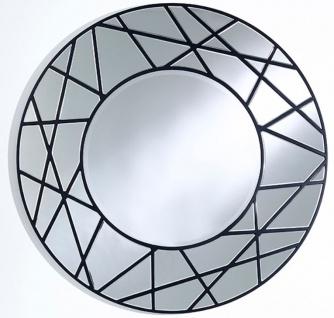 Casa Padrino Designer Spiegel Schwarz Ø 102 cm - Luxus Wohnzimmer Wandspiegel