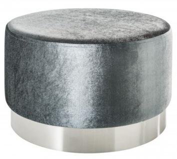 Casa Padrino Designer Rundhocker Grau / Silber B. 55 x H. 35 cm - Wohnzimmer Möbel