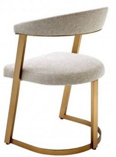 Casa Padrino Designer Stuhl mit Armlehnen Naturfarben / Messingfarben 53, 5 x 49 x H. 78 cm - Esszimmerstuhl - Bürostuhl - Designermöbel - Vorschau 3