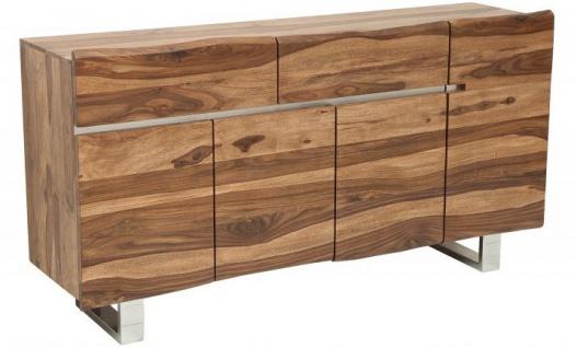 Casa Padrino Designer Sideboard Natur / Braun 170 x 45 x H.90 cm Fernsehschrank - Kommode - Handgefertigt!