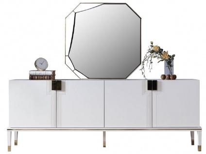 Casa Padrino Luxus Möbel Set Weiß / Gold - 1 Sideboard mit 4 Türen & 1 Spiegel - Moderne Massivholz Möbel - Luxus Kollektion