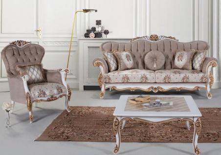 Casa Padrino Luxus Barock Wohnzimmer Set Grau / Mehrfarbig / Weiß / Bronze - 2 Sofas & 2 Sessel & 1 Couchtisch - Wohnzimmer Möbel im Barockstil - Edel & Prunkvoll