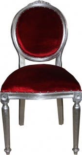 Casa Padrino Barock Medaillon Luxus Esszimmer Stuhl ohne Armlehnen in Bordeaux / Silber - Limited Edition