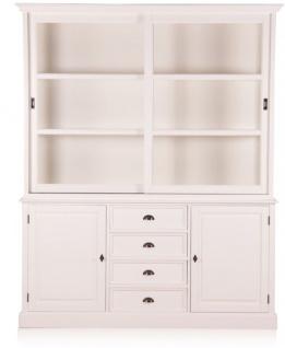 Casa Padrino Landhausstil Wandschrank Antik Weiß mit 2 Türen und 4 Schubladen 185 x 43 x H. 225 cm - Landhausstil Möbel