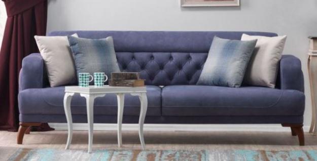 Casa Padrino Designer 2er Sofa Venice Blau / Holzfarbig - Hotel Sofa