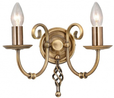Casa Padrino Barock Doppel Wandleuchte Antik Messingfarben 35 x 22 x H. 27 cm - Elegante Stahl Wandlampe - Wandleuchten im Barockstil