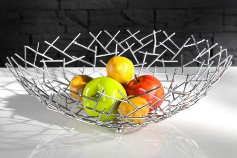 Designer Obstschale Structure silber aus silbernem Metall Höhe 15 cm, Durchmesser 45 cm - Schale, Obstkorb, Deko Schale - Vorschau 3