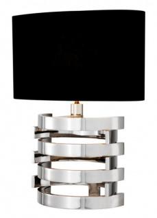 Casa Padrino Luxus Tischleuchte Edelstahl vernickelt / Lampenschirm Schwarz 50 x 35 cm - Leuchte - Luxury Collection - Vorschau