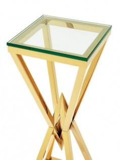 Casa Padrino Luxus Beistelltisch / Säule Edelstahl Gold Finish 35 x 35 x H 101 cm - Tisch Möbel - Vorschau 2