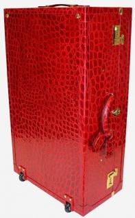 Casa Padrino Luxus Echtleder Koffer mit Zahlenschloss und Rollen Rot / Gold 42 x 22 x H. 70 cm - Reisekoffer aus hochwertigem Leder - Luxus Accessoires