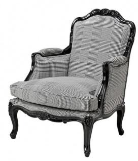 Casa Padrino Luxus Barock Lounge Sessel Schwarz / Grau Kariert