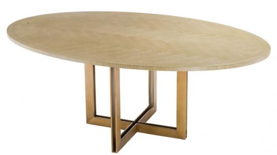 Casa Padrino Luxus Esstisch Naturfarben / Messing 200 x 120 x H. 76 cm - Ovaler Küchentisch - Luxus Esszimmer Möbel - Vorschau 4