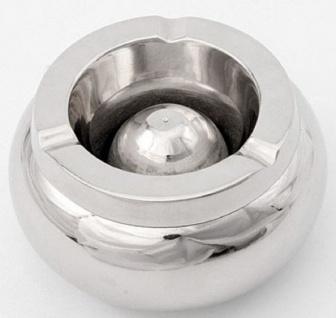 Casa Padrino Designer Aschenbecher Silber Ø 12, 5 x H. 6 cm - Runder Aluminium Aschenbecher - Deko Accessoires