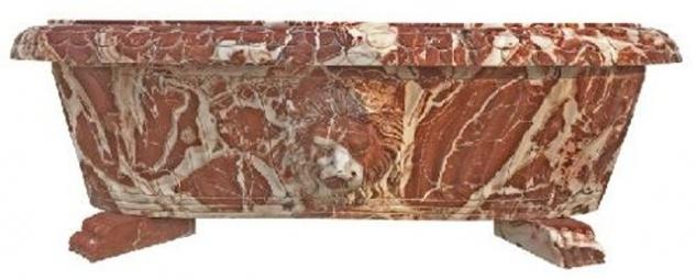 Casa Padrino Luxus Barock Badewanne Löwenkopf Rot / Weiß 180 cm - Freistehende Marmor Badewanne - Bad Accessoires - Edel & Prunkvoll