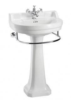 Casa Padrino Porzellan Waschbecken mit Sockel und Handtuchhalter - Hotel Restaurant Möbel