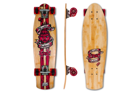 Mindless Voodoo Complete Skateboard Longboard Retro Cruiser Rustler Red - Profi Oldschool Bamboo / Maple Longboard - 29.13 x 7.87 inch -