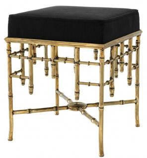 Casa Padrino Designer Hocker Vintage Messing / Schwarz 40 x 40 x H. 48, 5 cm - Luxus Sitzhocker