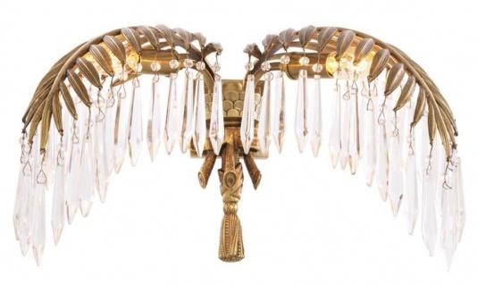 Casa Padrino Luxus Kristallglas Wandleuchte Vintage Messingfarben 45 x 27 x H. 27 cm - Luxus Qualität