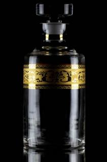 Casa Padrino Luxus Barock Whisky Karaffe Gold Ø 12, 5 x H. 20 cm - Mundgeblasene und handgravierte Glas Karaffe - Hotel & Restaurant Accessoires - Luxus Qualität