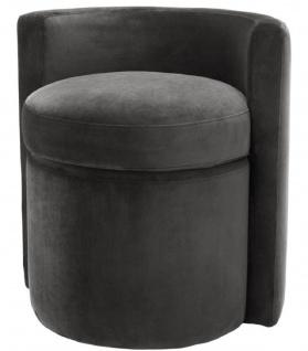 Casa Padrino Designer Sessel Dunkelgrau 61 x 57 x H. 64 cm - Runder Samt Sessel - Luxus Möbel