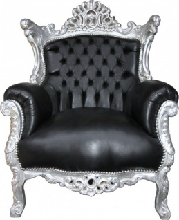 Casa Padrino Barock Sessel Al Capone Schwarz Lederoptik / Silber 90 x 80 x H. 128 cm - Wohnzimmermöbel im Antik Stil