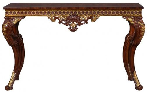 Casa Padrino Luxus Barock Konsole Dunkelbraun / Gold - Handgefertigter Massivholz Konsolentisch im Barockstil - Edel & Prunkvoll