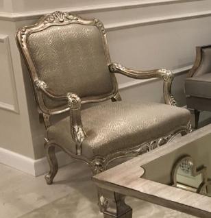 Casa Padrino Luxus Barock Sessel Silber / Antik Silber - Prunkvoller Wohnzimmer Sessel - Barock Wohnzimmer Möbel - Edel & Prunkvoll - Vorschau 1