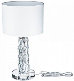 Casa Padrino Designer Tischleuchte Silber / Weiß Ø 25 x H. 44, 5 cm - Moderne Metall Schreibtischleuchte mit eleganten Glaselementen und rundem Lampenschirm