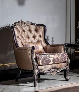 Casa Padrino Luxus Barock Sessel Gold / Lila - Prunkvoller Wohnzimmer Sessel mit Muster und dekorativem Kissen - Barock Wohnzimmer Möbel