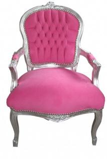 Casa Padrino Barock Salon Stuhl Mod1 Rosa / Silber - Antik Design