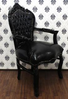 Casa Padrino Barock Esszimmer Stuhl mit Armlehnen Schwarz Lederoptik / Schwarz - Möbel