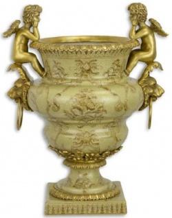 Casa Padrino Jugendstil Blumentopf Grün / Gold 27 x 19, 8 x H. 33, 8 cm - Porzellan Pflanzentopf mit Bronze Engelsfiguren und Löwenkopf Griffen - Deko Accessoires