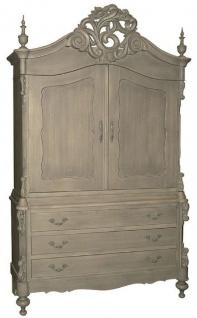 Casa Padrino Luxus Landhausstil Küchenschrank Grau 150 x 60 x H. 255 cm - Handgefertigter Massivholz Schrank mit 2 Türen und 3 Schubladen - Landhausstil Küchen Möbel - Luxus Qualität
