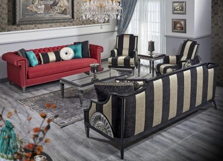 Casa Padrino Luxus Barock Wohnzimmer Set Rot / Schwarz / Gold / Silber - 2 Sofas & 2 Sessel & 1 Couchtisch & 1 Beistelltisch - Barock Wohnzimmermöbel