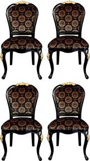 Pompöös by Casa Padrino Luxus Barock Esszimmerstühle mit Krone Schwarz / Gold - Pompööse Barock Stühle designed by Harald Glööckler - 4 Esszimmerstühle - Barock Esszimmermöbel