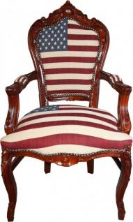 Casa Padrino Barock Esszimmer mit Armlehnen USA / Mahagony Braun Antik Stil