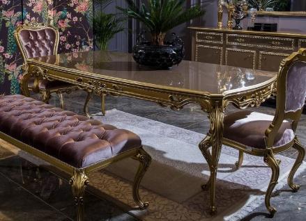 Casa Padrino Luxus Barock Esstisch Grau / Gold - Prunkvoller Massivholz Esszimmertisch - Barock Esszimmer Möbel - Edel & Prunkvoll
