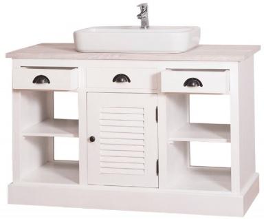 Casa Padrino Landhausstil Waschbeckenschrank Weiß / Hellgrau 120 x 51 x H. 75 cm - Waschtisch mit 2 Türen und 3 Schubladen - Vorschau 4