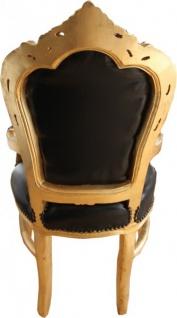 Casa Padrino Barock Esszimmerstuhl Schwarz / Gold Lederoptik mit Armlehnen - Esszimmer Stuhl Möbel - Vorschau 3