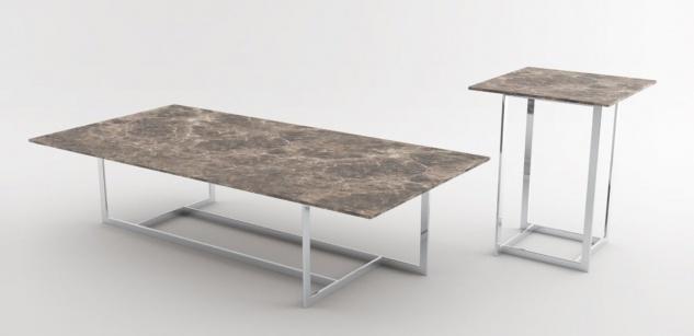 Casa Padrino Luxus Wohnzimmer Set Silber / Braun - 1 Couchtisch mit Marmorplatte & 1 Beistelltisch mit Marmorplatte - Wohnzimmermöbel - Luxus Qualität