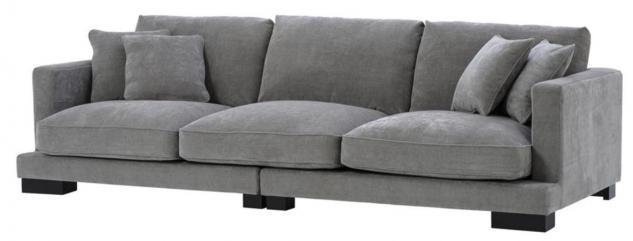 Casa Padrino Luxus Wohnzimmer Sofa Grau / Schwarz 284 x 110 x H. 85 cm - Luxus Kollektion