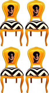 Casa Padrino Luxus Barock Esszimmer Set Schwarz / Weiß Streifen / Gelb 55 x 54 x H. 103 cm - 4 handgefertigte Designer Esszimmerstühle - Barock Esszimmermöbel