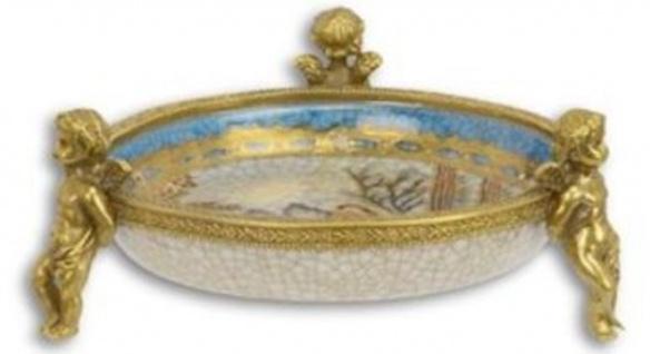 Casa Padrino Jugendstil Deko Schale Mehrfarbig / Gold Ø 13, 5 x H. 5, 4 cm - Runde Porzellan Schale mit 3 dekorativen Engelsfiguren - Barock & Jugendstil Deko Accessoires