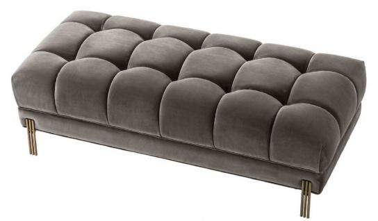 Casa Padrino Luxus Sitzbank Grau / Messingfarben 133 x 59 x H. 42 cm - Gepolsterte Samt Bank mit Edelstahl Beinen - Luxus Kollektion - Vorschau 2