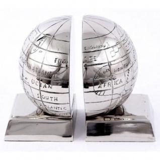 Casa Padrino Bücherstützen Set Globus Aluminium vernickelt - Bücherstütze - Book End Buchstützen