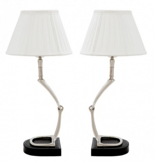 Casa Padrino Luxus Tischleuchten Set Horsebit White (2 Leuchten ) - Leuchte Lampe - Tischleuchte Tischlampe Hockerleuchte
