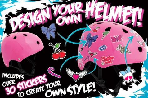 SFR Skateboard / Scooter / Inliner / BMX / Rollschuh Schutz Helm - Pink Sticker - Skateboard Schutzausrüstung - Vorschau 2