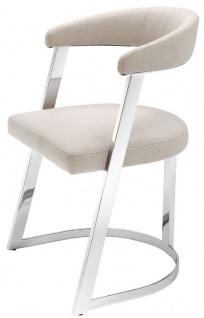 Casa Padrino Designer Stuhl mit Armlehnen Naturfarben / Silber 53, 5 x 49 x H. 78 cm - Esszimmerstuhl - Bürostuhl - Designermöbel