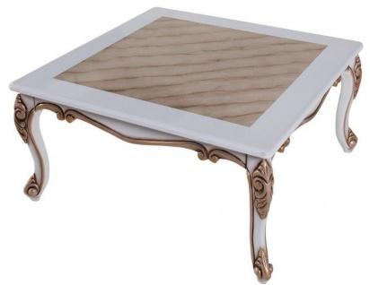 Casa Padrino Luxus Barock Couchtisch Beige / Weiß / Bronze 89 x 65 x H. 45 cm - Massivholz Wohnzimmertisch im Barockstil - Barock Wohnzimmer Möbel