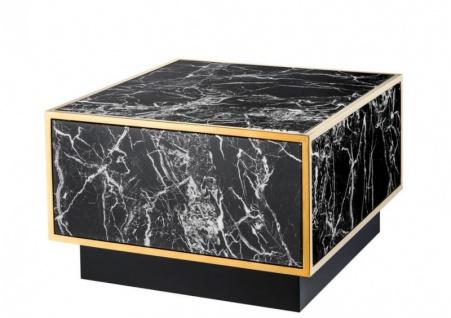 Casa Padrino Art Deco Luxus Couchtisch Kunstmarmor Gold finish 4er Set - Wohnzimmer Salon Tisch - Luxus Möbel - Vorschau 3